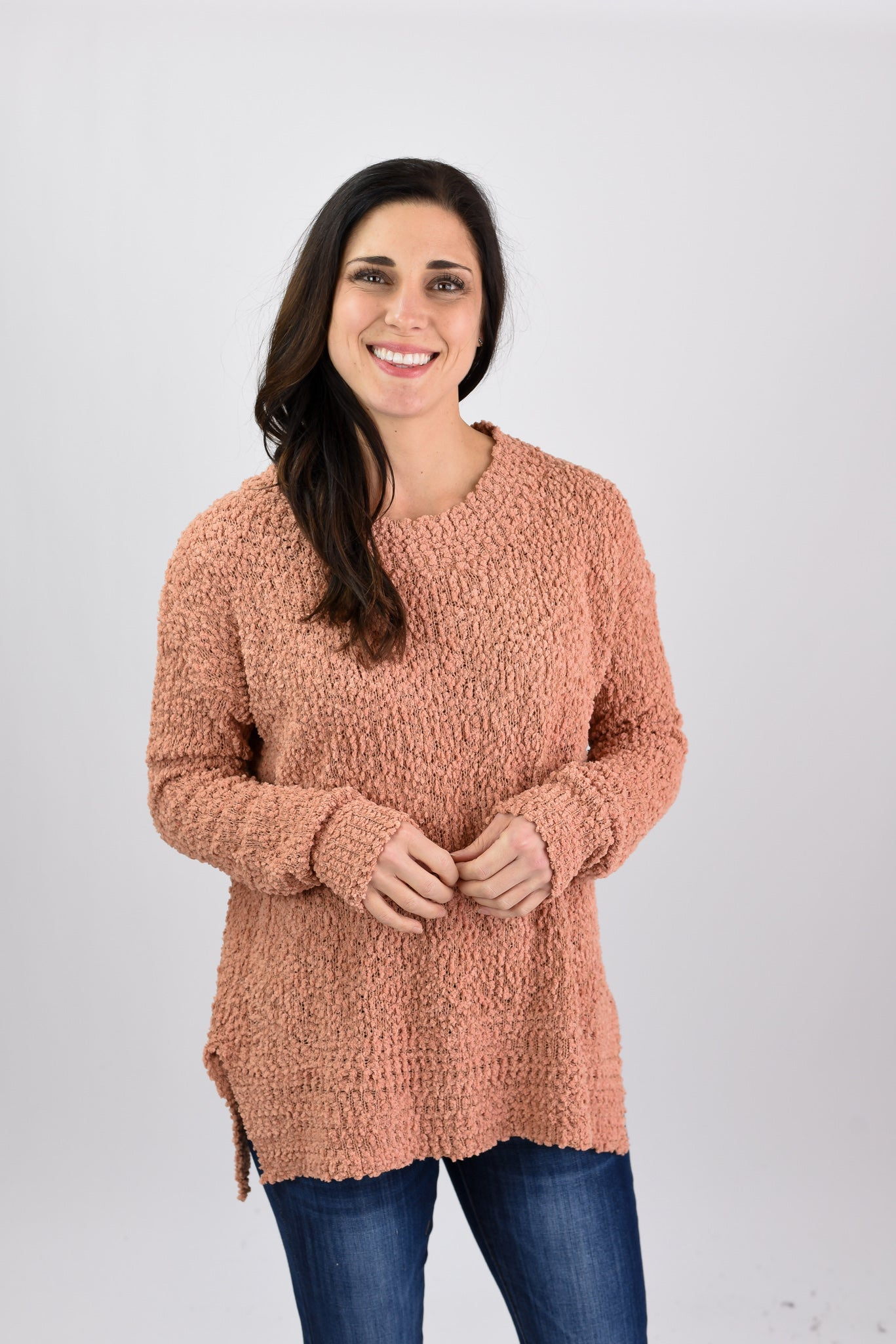 Look From Afar Popcorn Sweater - Sunrise Orange