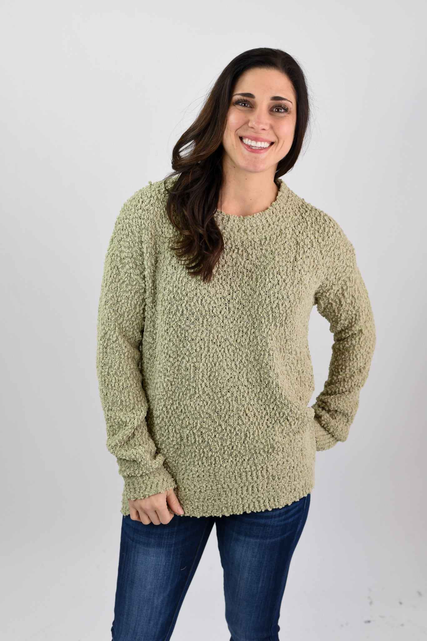 Look From Afar Popcorn Sweater - Olive