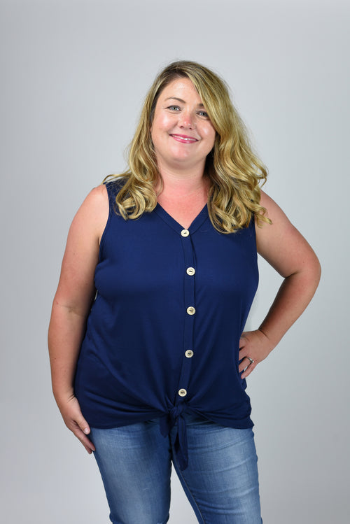 Take Good Care Navy Button Down Front Tie Tank- Curvy
