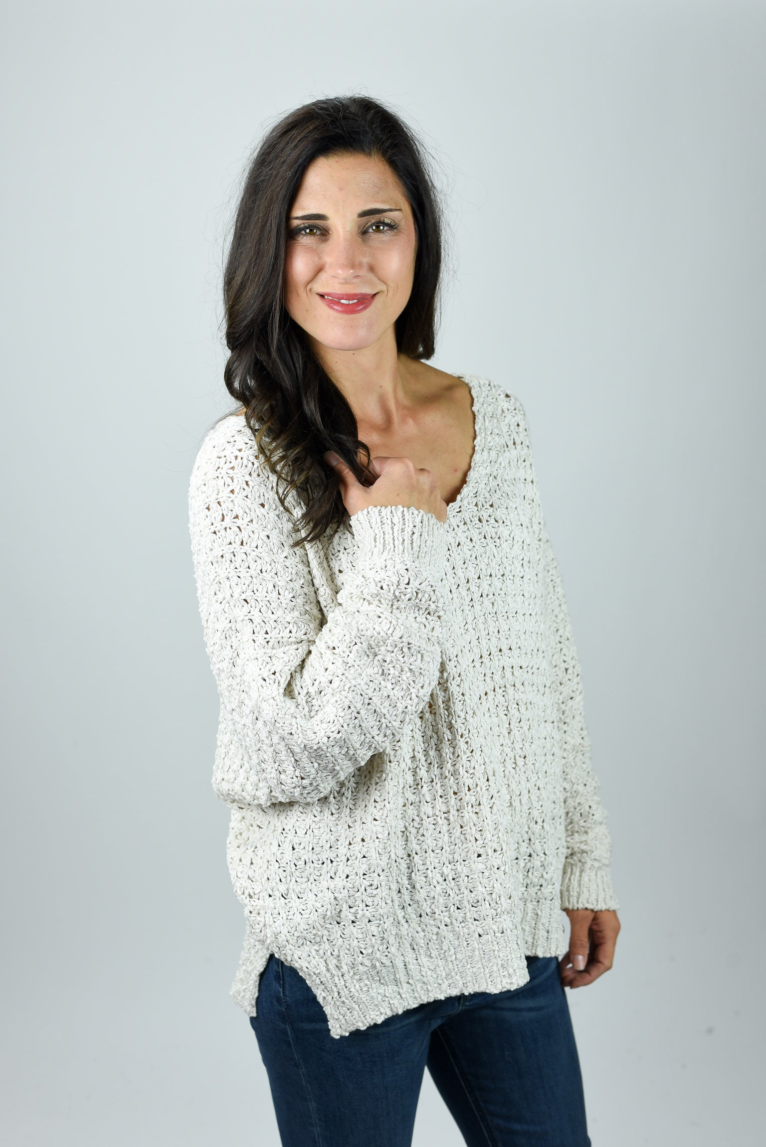 All I Want Loose Knit V neck Sweater- Cream