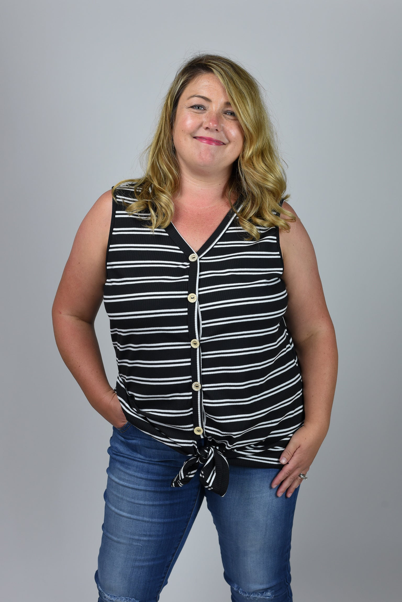 Summer Anthem Black Stripe Button Down Front Tie Tank- Curvy