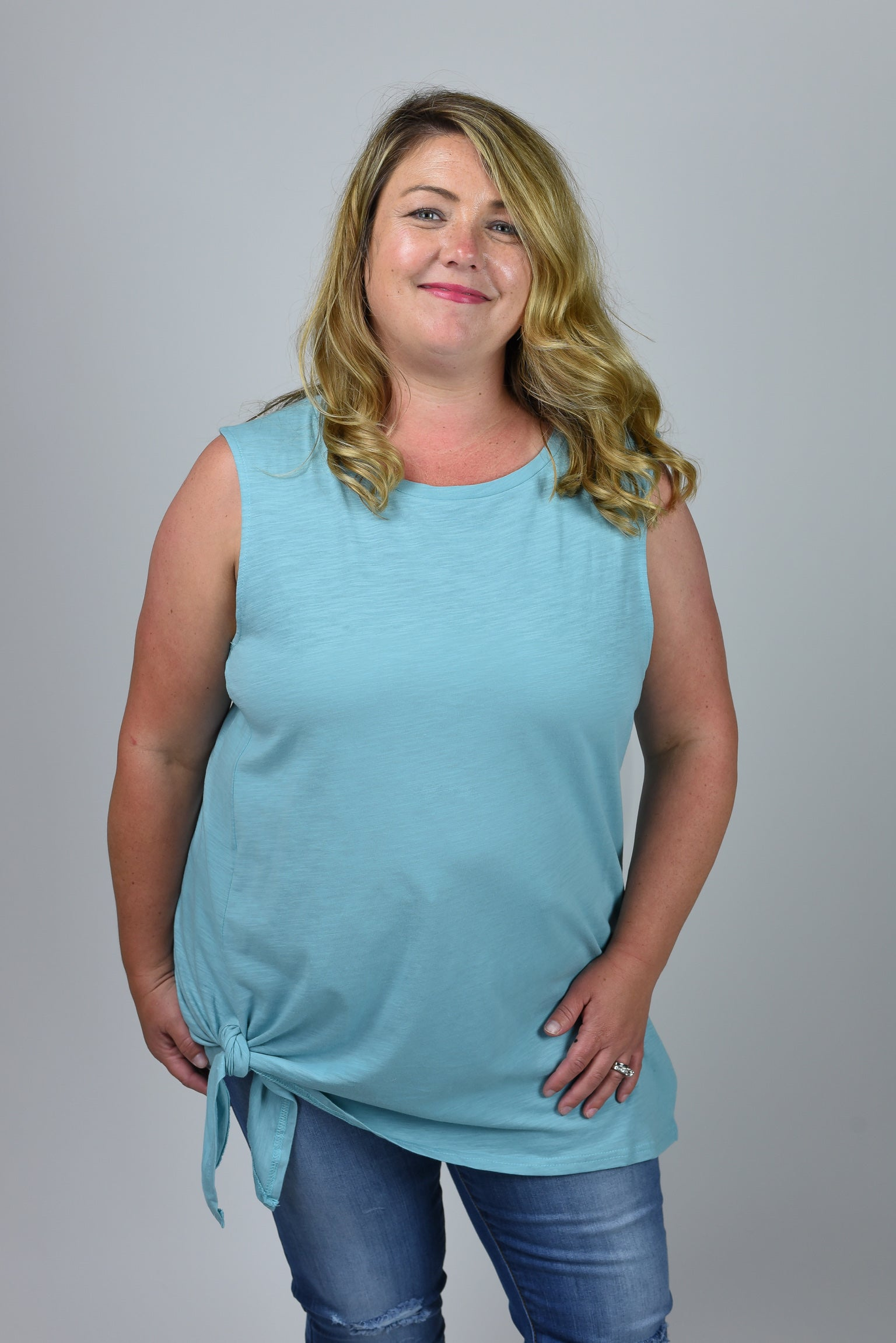 Straight Forward Teal Front Tie Tank- Curvy