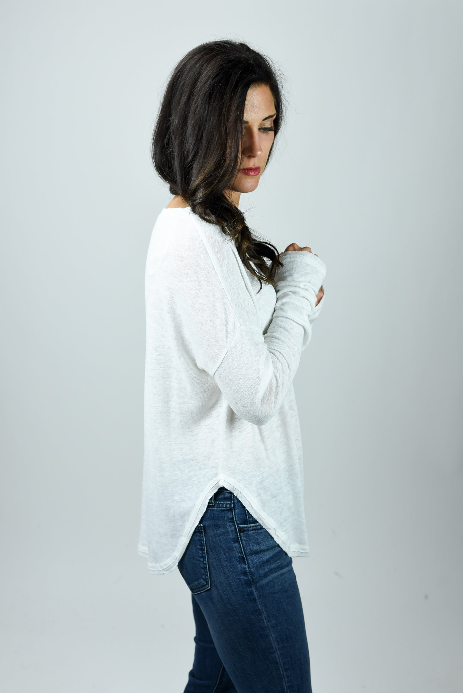 Making Magic Ivory Slub  Long Sleeve Top