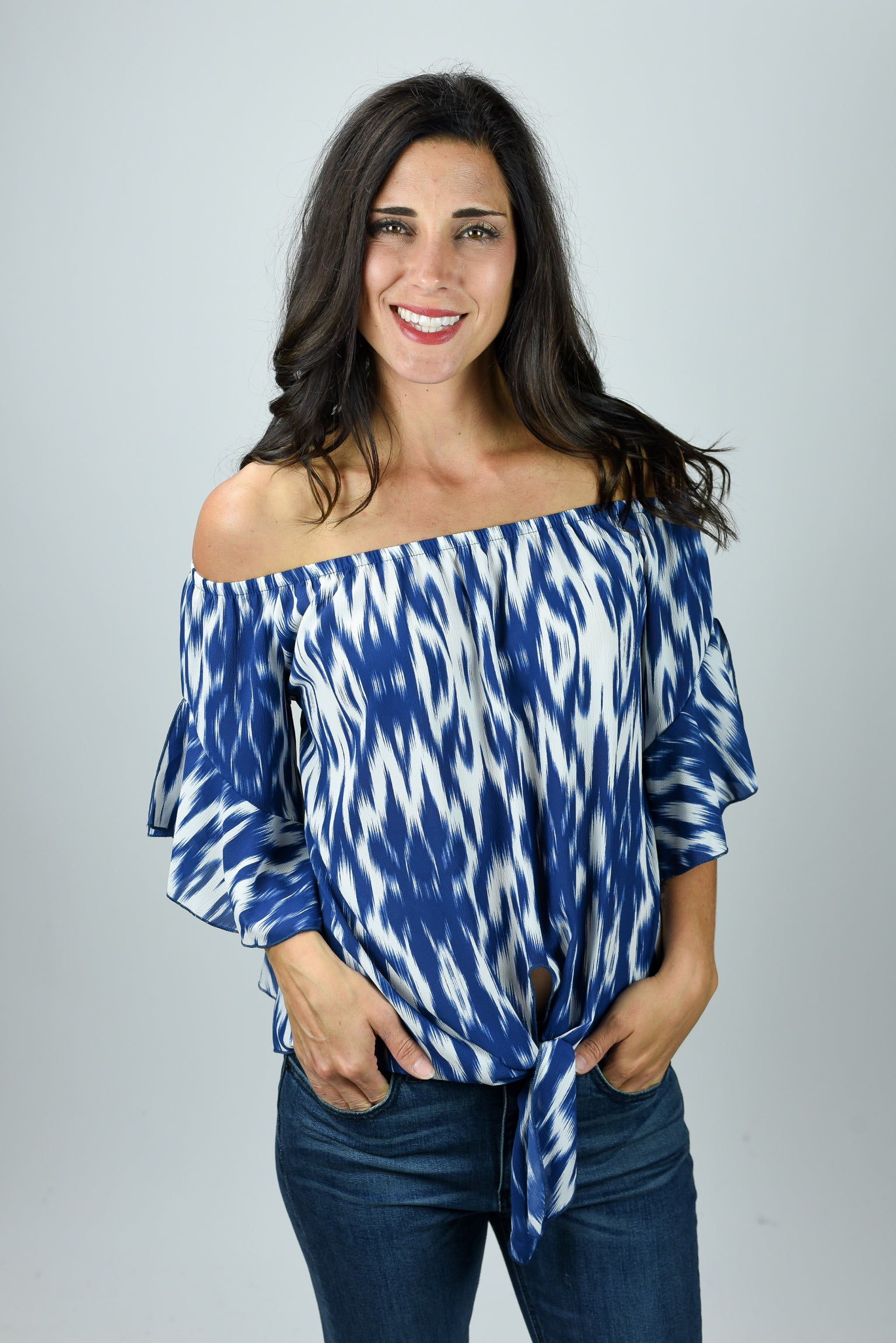 Into Your Vibe Blue and White Front Tie Off Shoulder Tee
