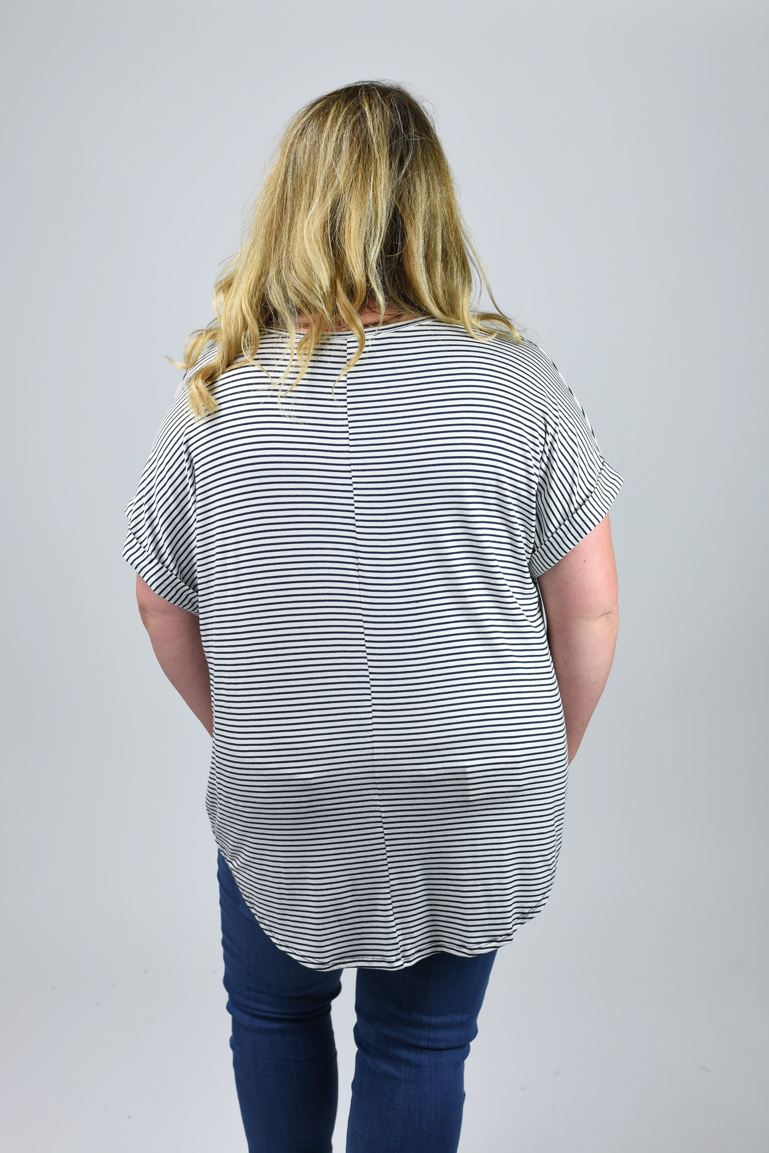 First Chapter Black Stripe Front Knot Tee - Curvy