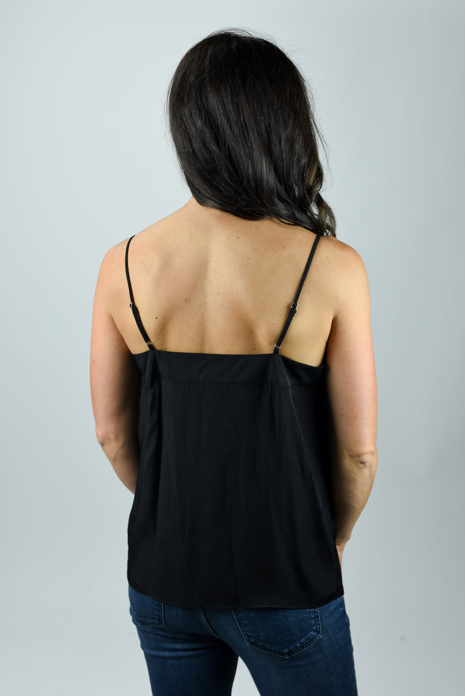 Love Me Anyways Silky Strappy Tank - Black