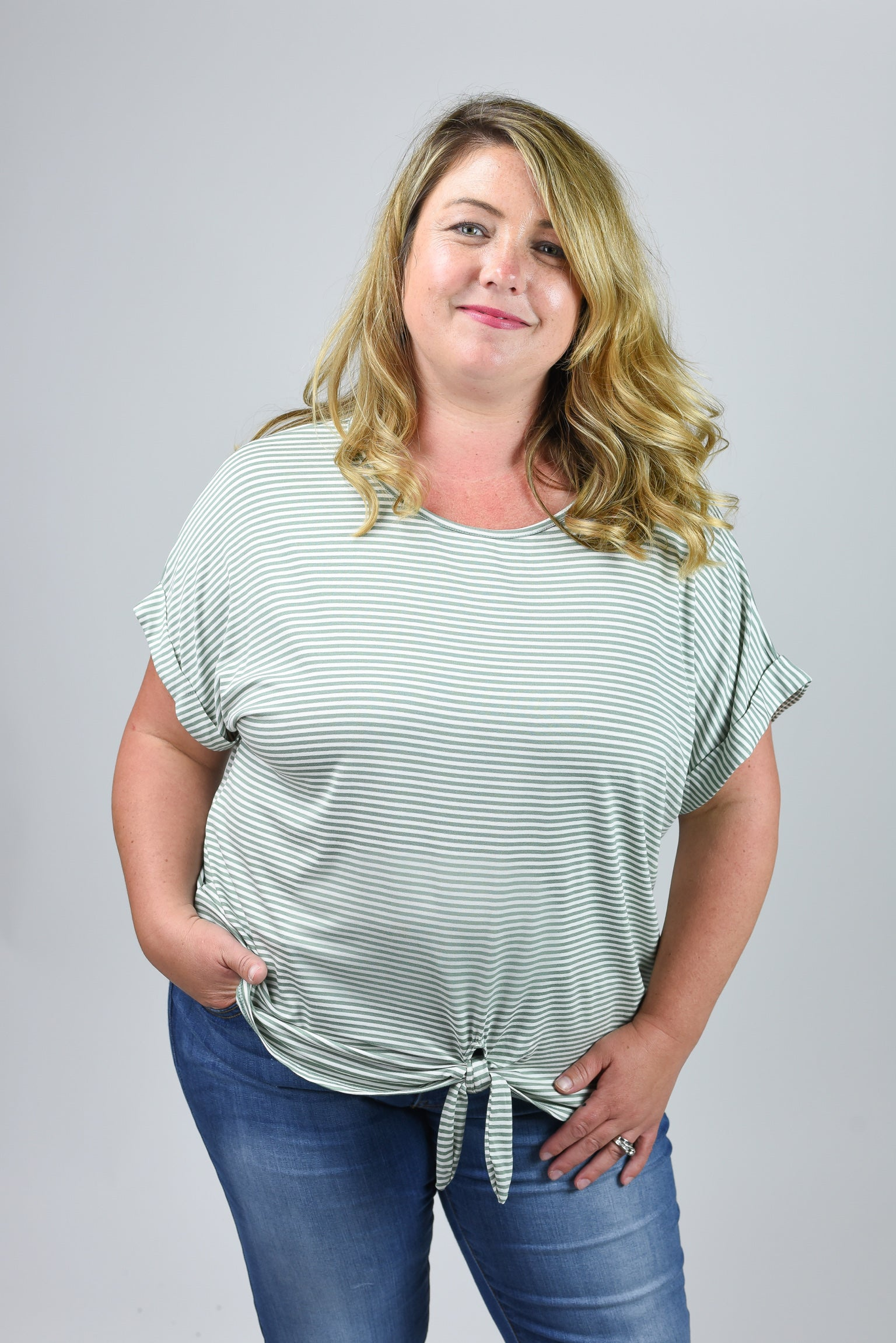 First Chapter Olive Stripe Front Knot Tee - Curvy