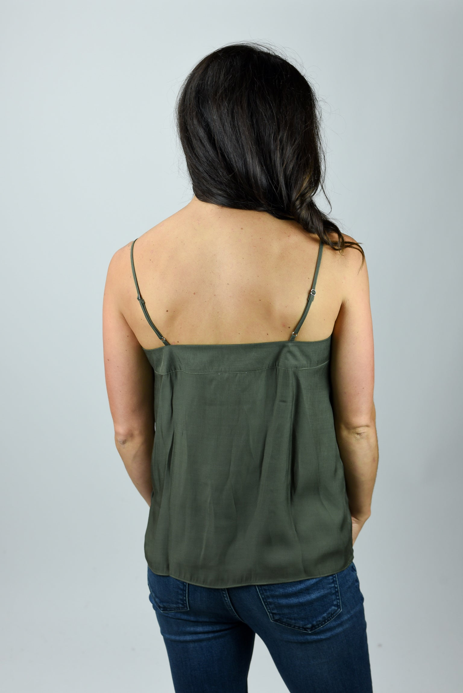 Love Me Anyways Silky Strappy Tank - Olive