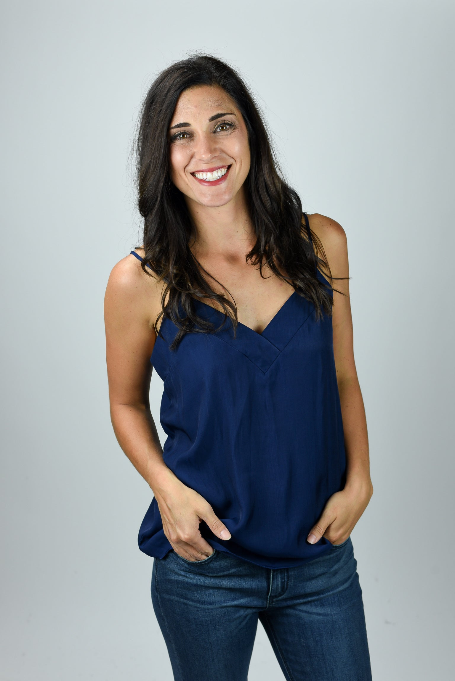 Love Me Anyways Silky Strappy Tank - Navy