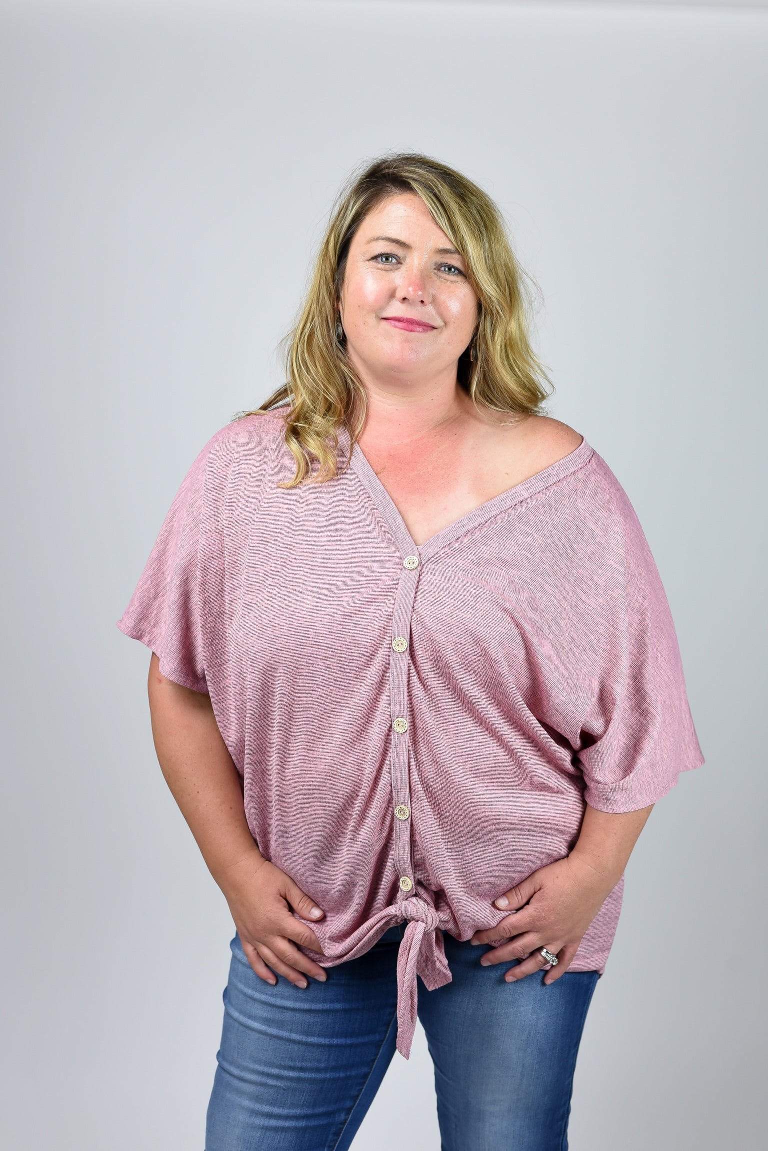 Sidetracked Button Down Front Tie Tee Curvy- Mauve