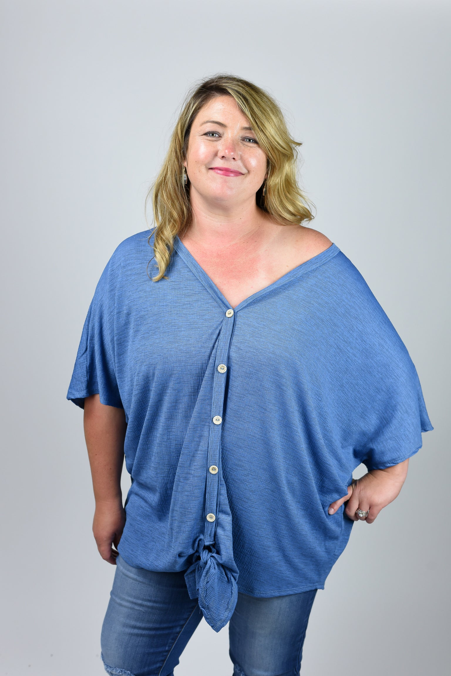 Sidetracked Button Down Front Tie Tee Curvy- Blue