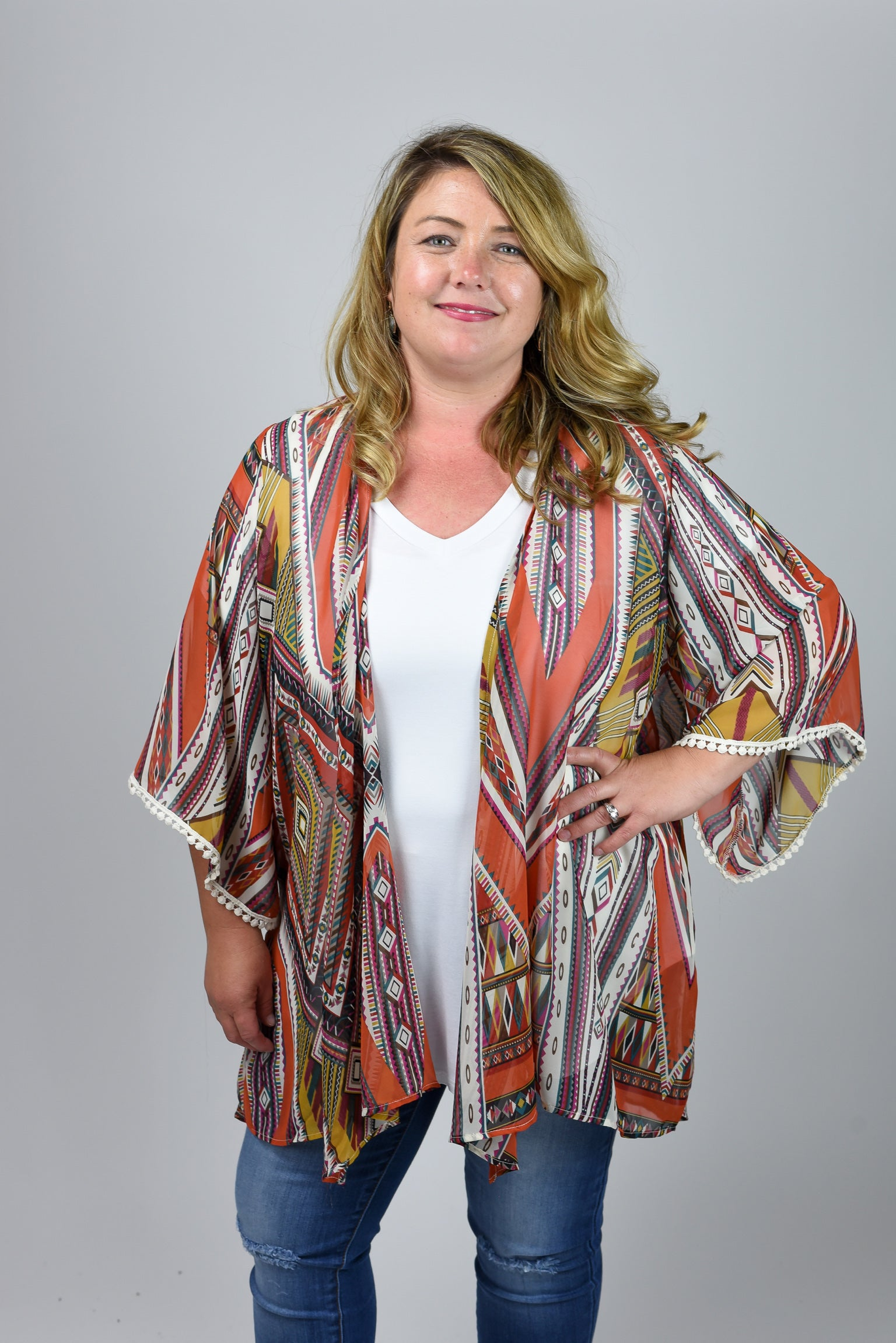 Do Good Things Rust Patterned Kimono- Curvy