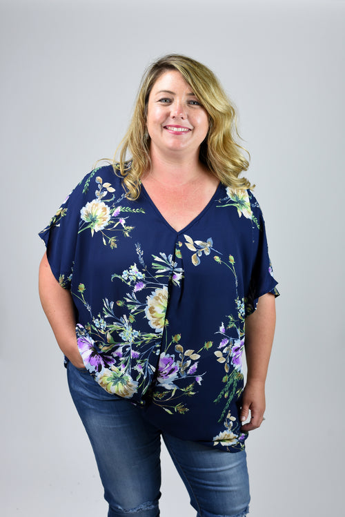 Come So Far Navy Floral Front Tie Blouse- Curvy