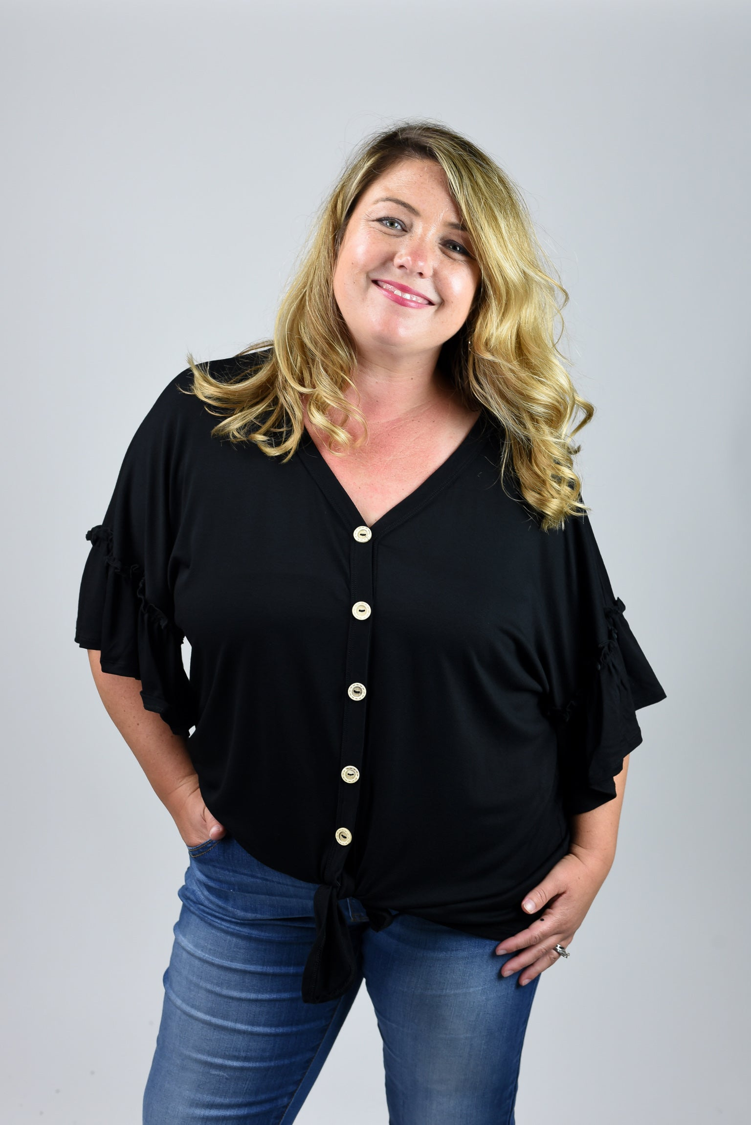 Playing Favorites Button Down Front Tie Black Tee- Curvy