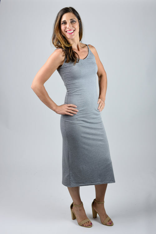 Uncommon Expectations Grey Fitted Midi Dress