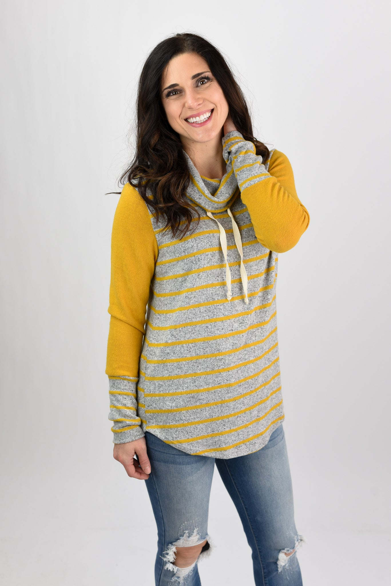 Soul Shaking Stripe Cowl Neck Long Sleeve- Mustard