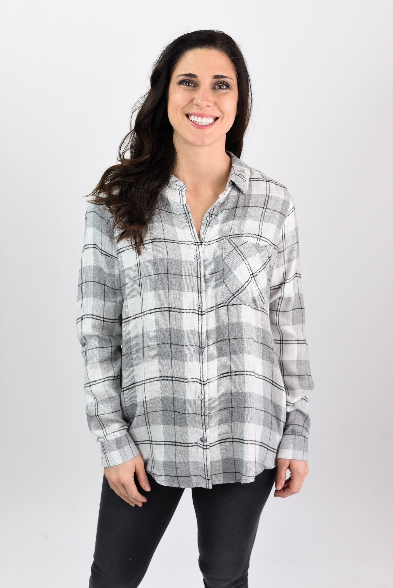 Staying In Tonight Grey and Ivory Flannel Long Sleeve