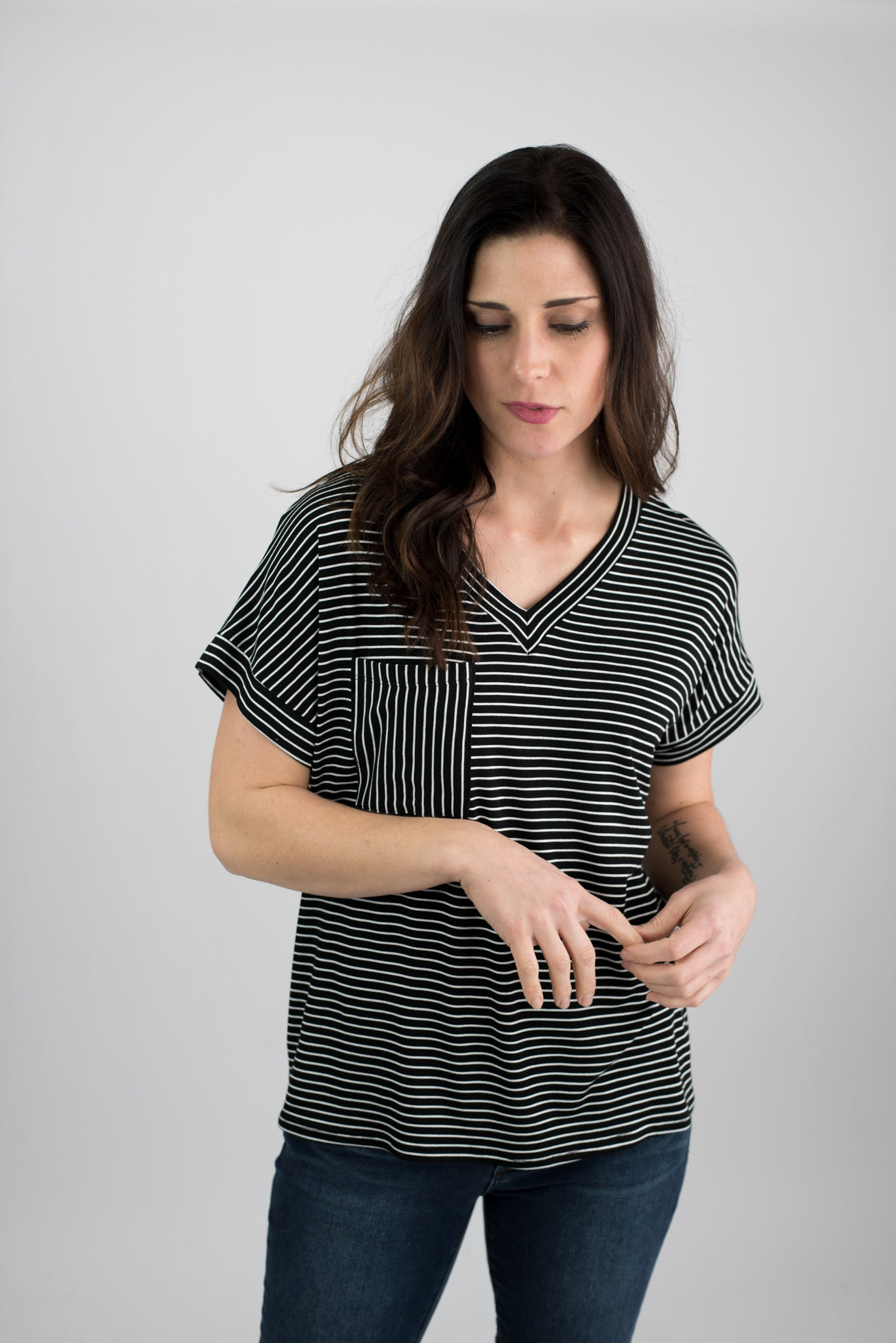 Tilted Views Pocket Tee - Black with White Stripes