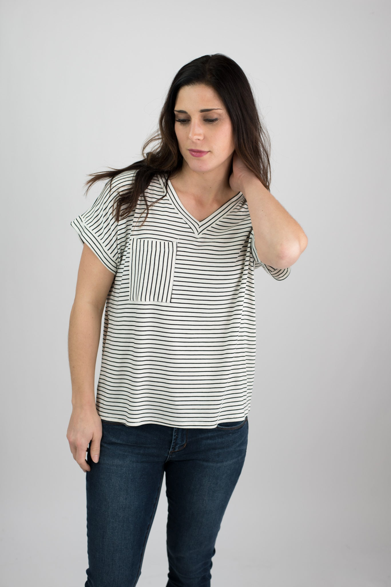 Tilted Views Pocket Tee - White with Black Stripes