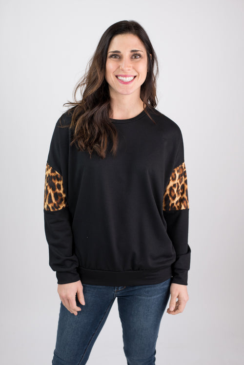 Dreaming Of This Cheetah Contrast Long Sleeve- Black