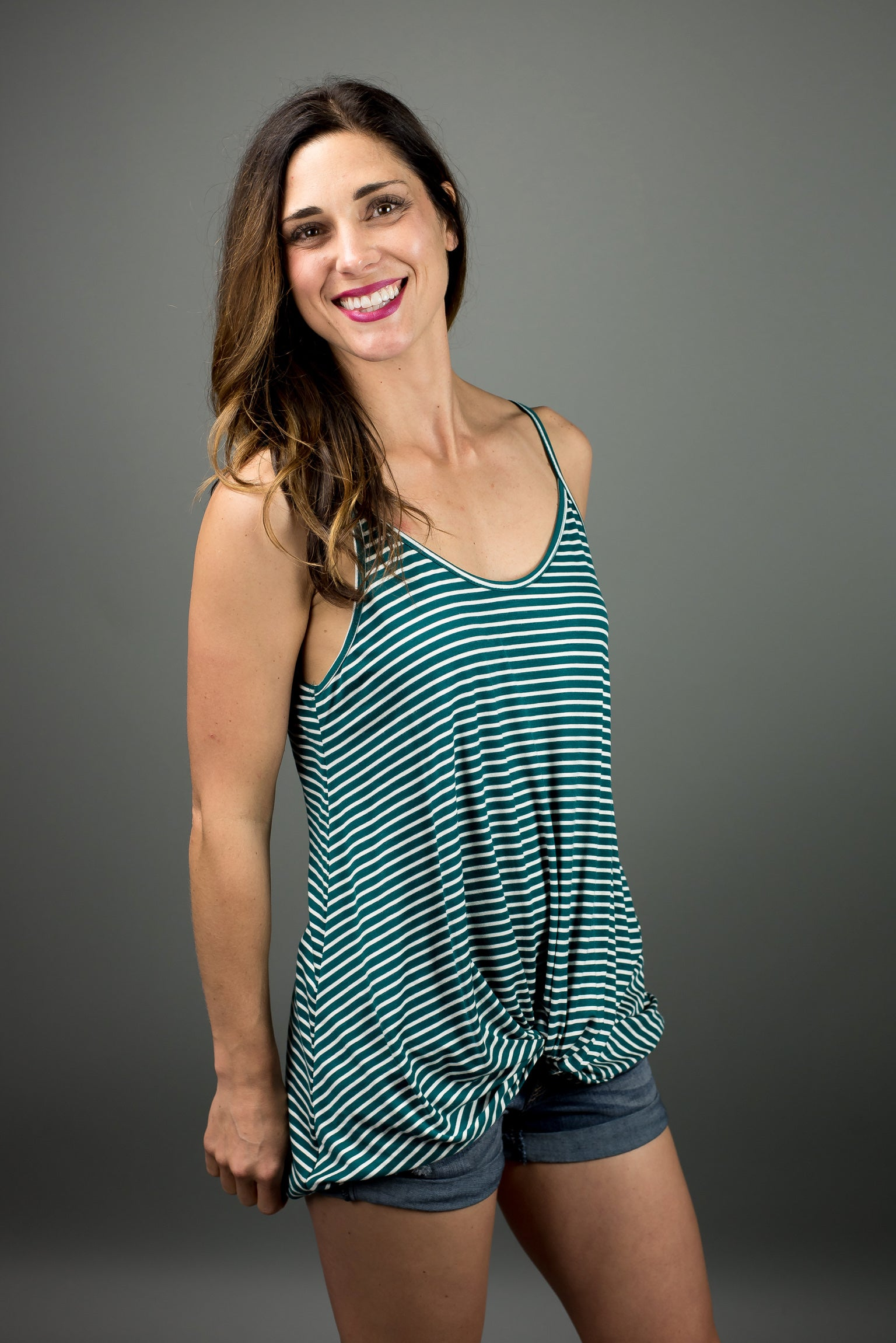 Be Cool Green Stripe Front Twist Tank