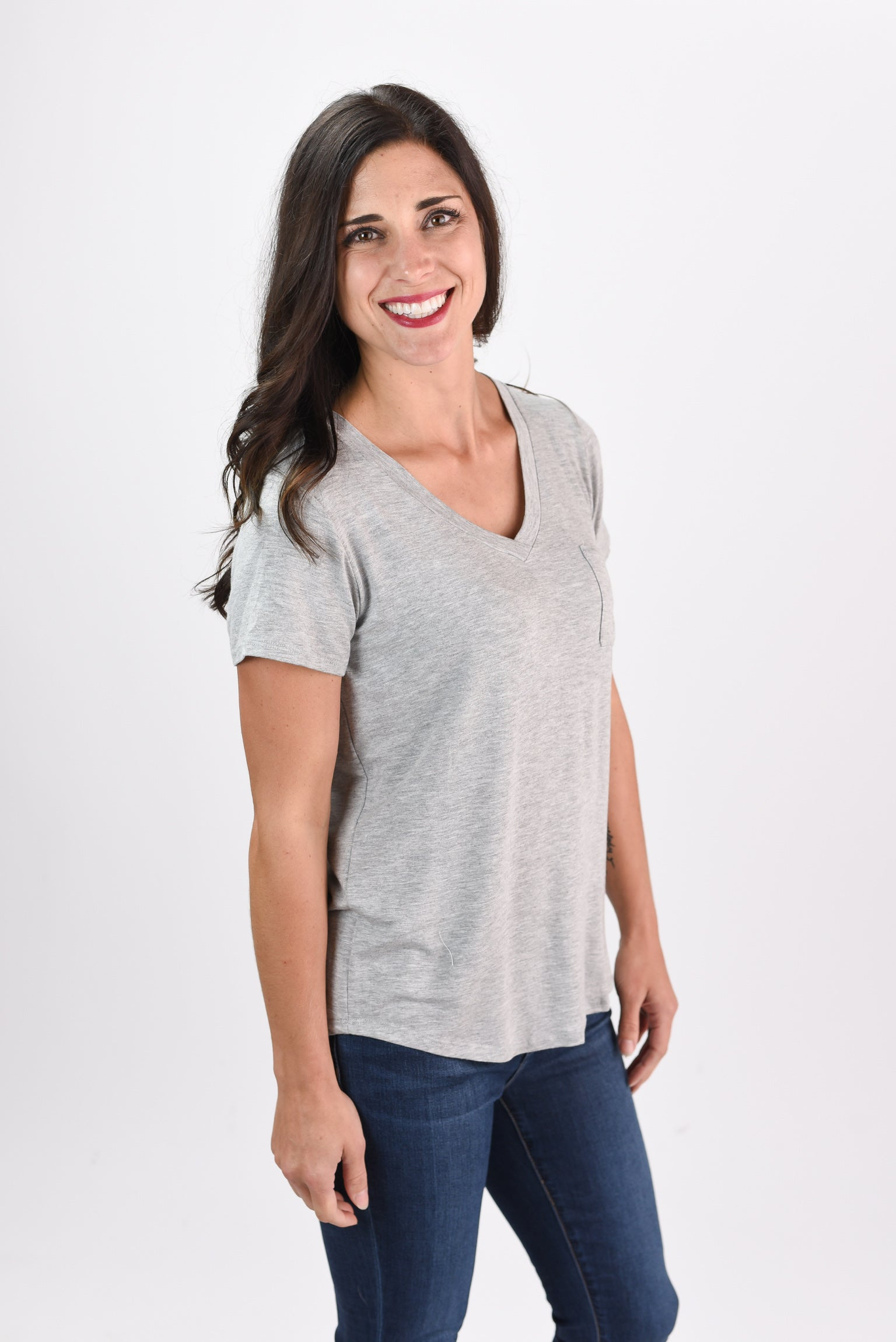 More To Be Seen Basic Grey Tee with Pocket