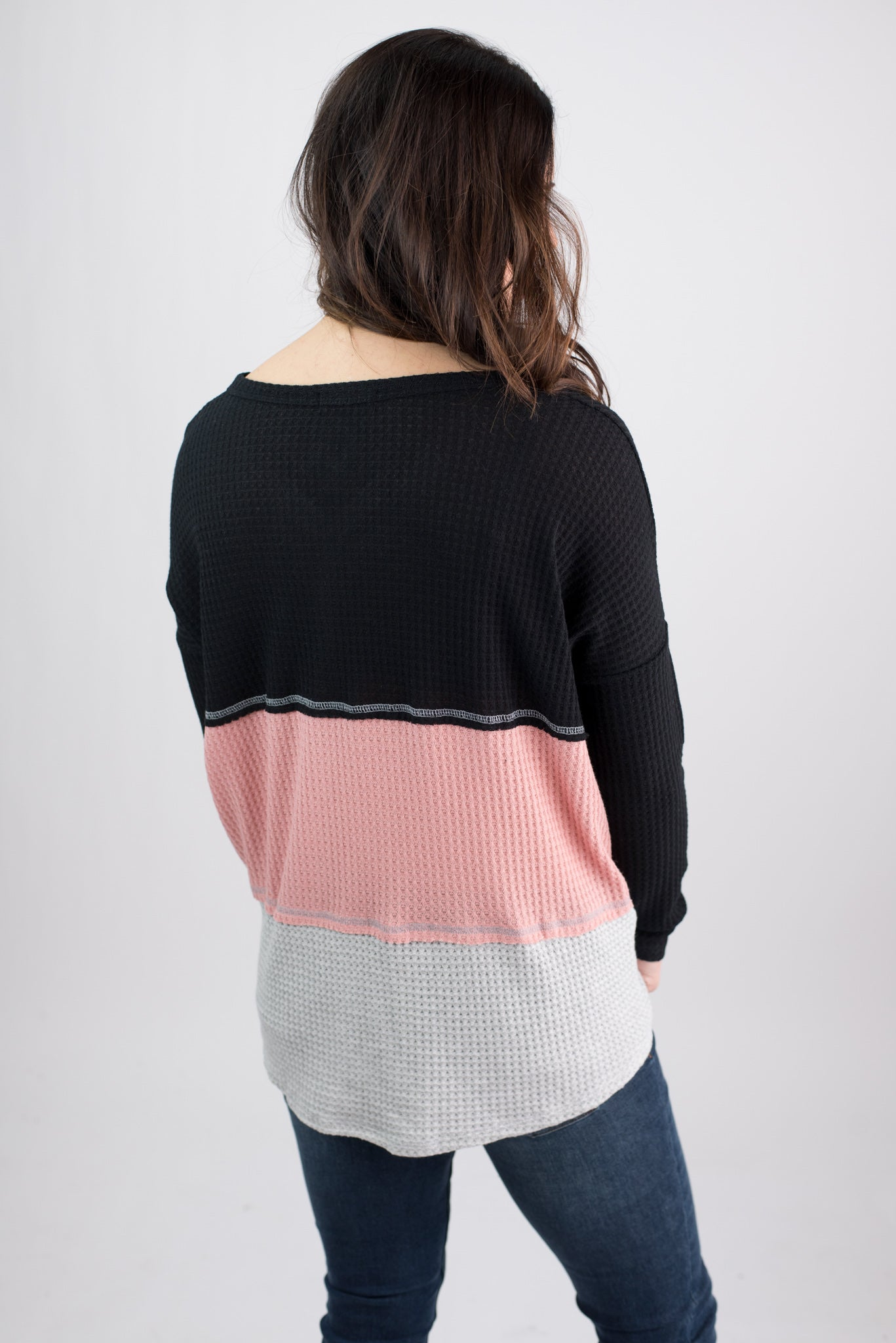 Wildest Dream Colorblock Waffle Long Sleeve- Black, Pink, Grey