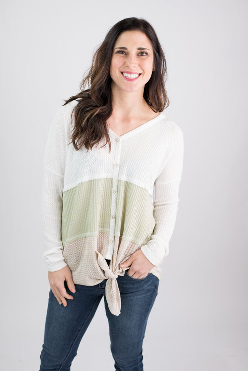 Wildest Dream Colorblock Waffle Long Sleeve- Ivory, Sage, Oatmeal