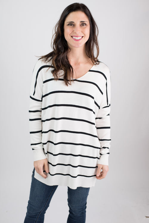 Long Lost Life Lines White and Black Oversized Lightweight Sweater