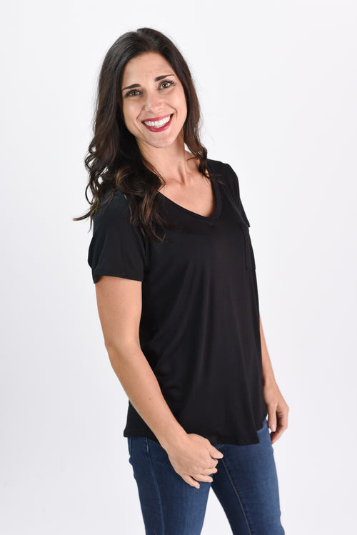 More To Be Seen Basic Black Tee with Pocket