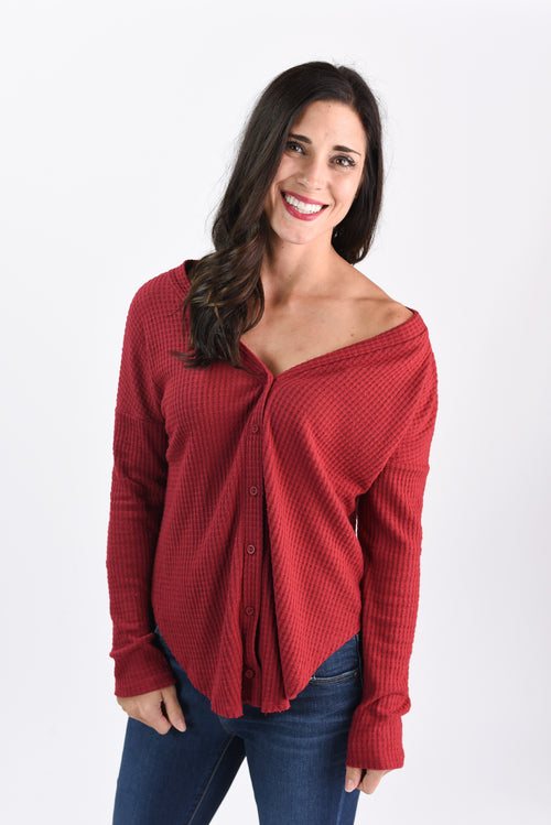Crushing Cranberry Waffle Long Sleeve Top