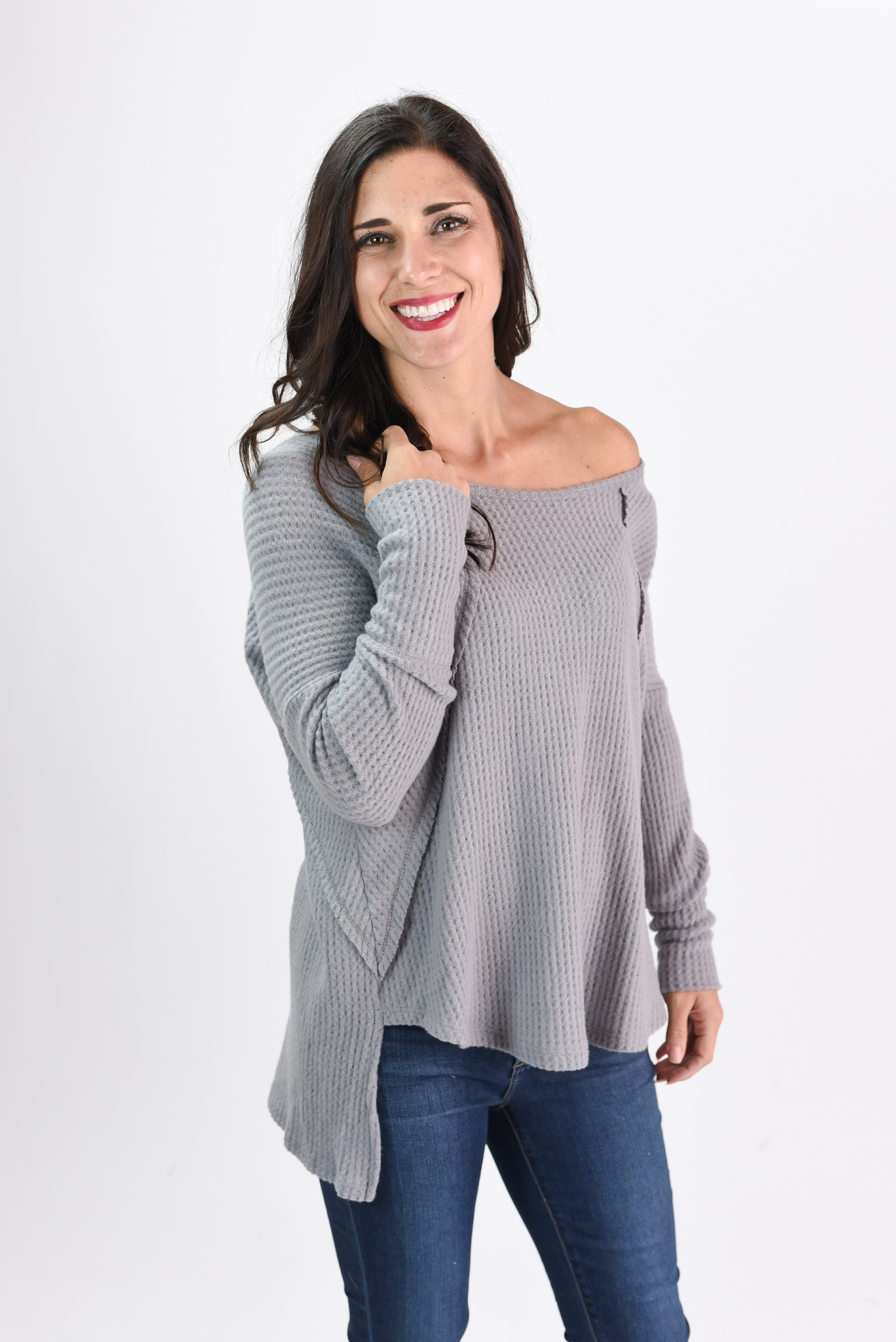 Night and Day Grey Boatneck Waffle Long Sleeve Top