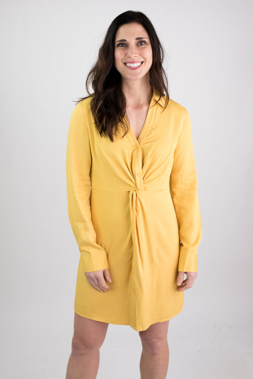 My Sunshine Front Twist Long Sleeve Dress - Yellow