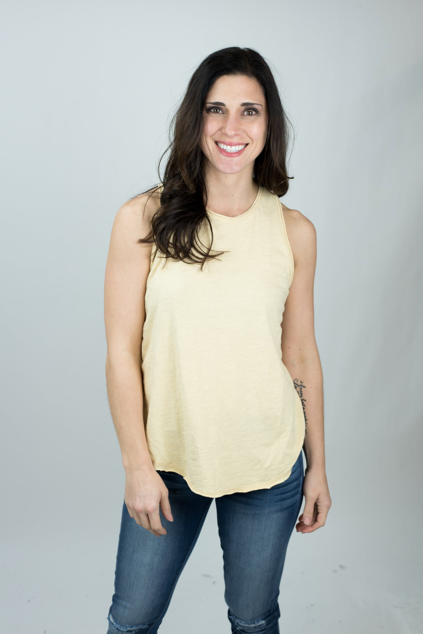 Road Trip Raw Hem Racerback Tank - sunflower