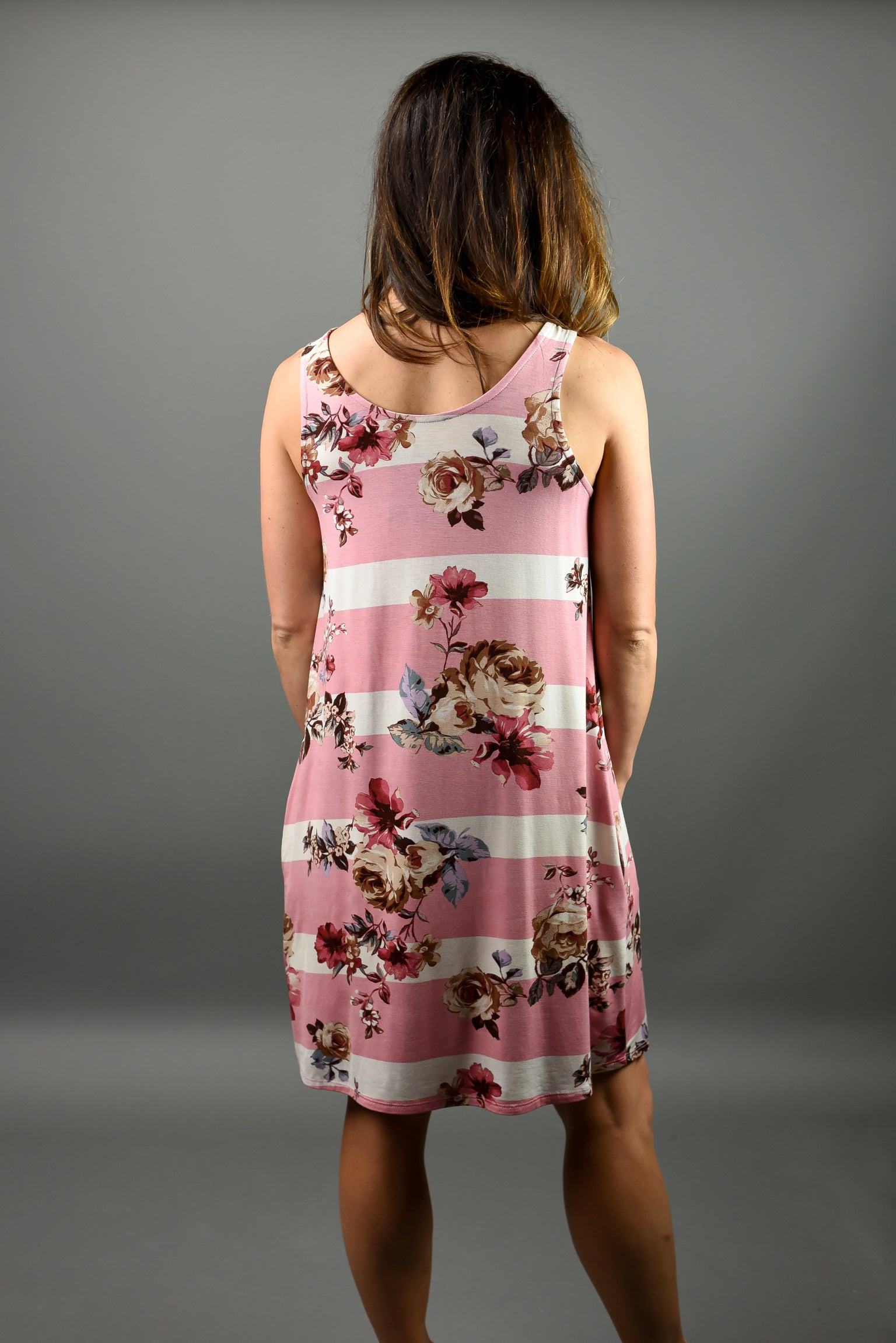All The Action Mauve Stripe Floral Tank Dress
