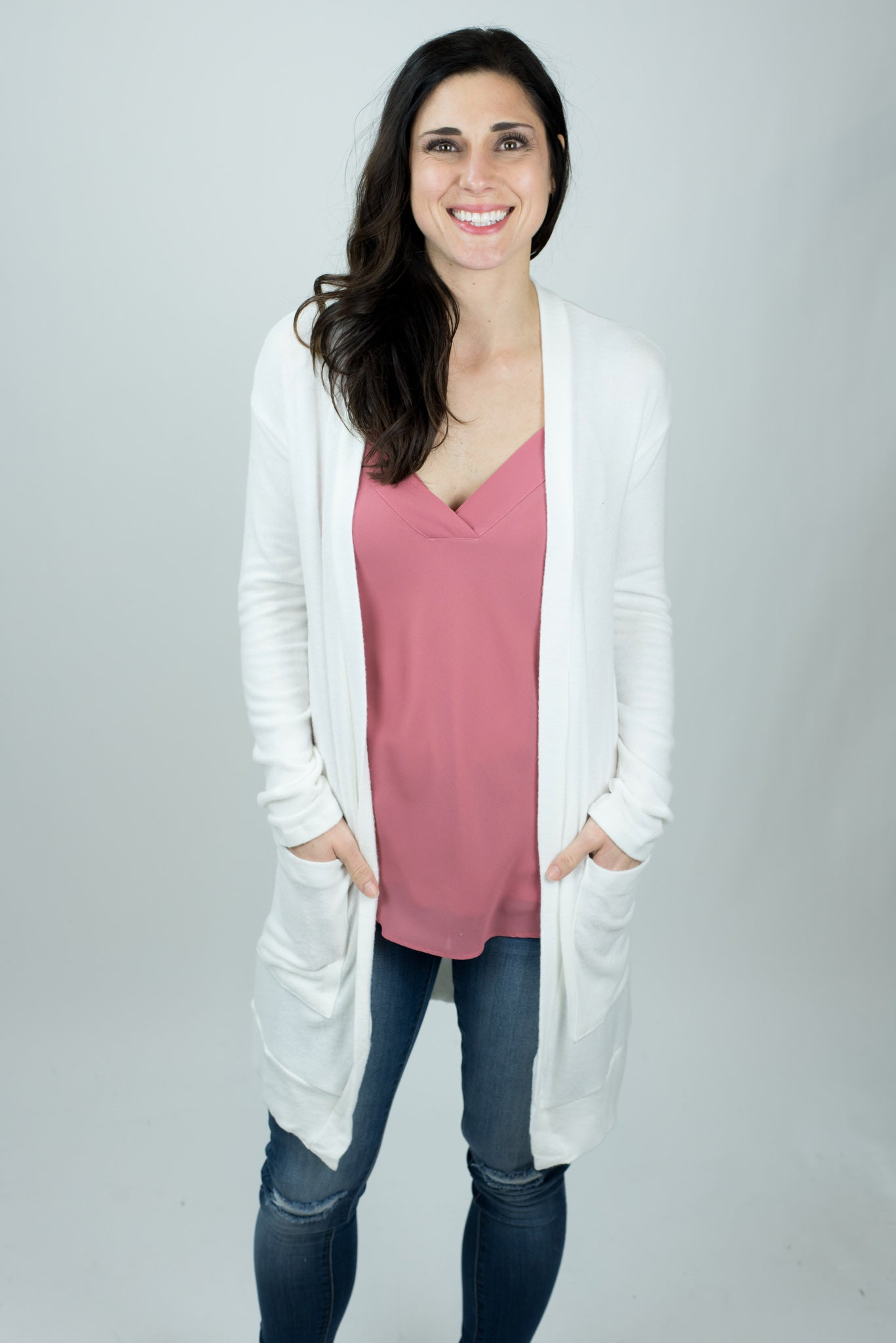 Late Night Reservations V Neck Cami - Rosy Mauve