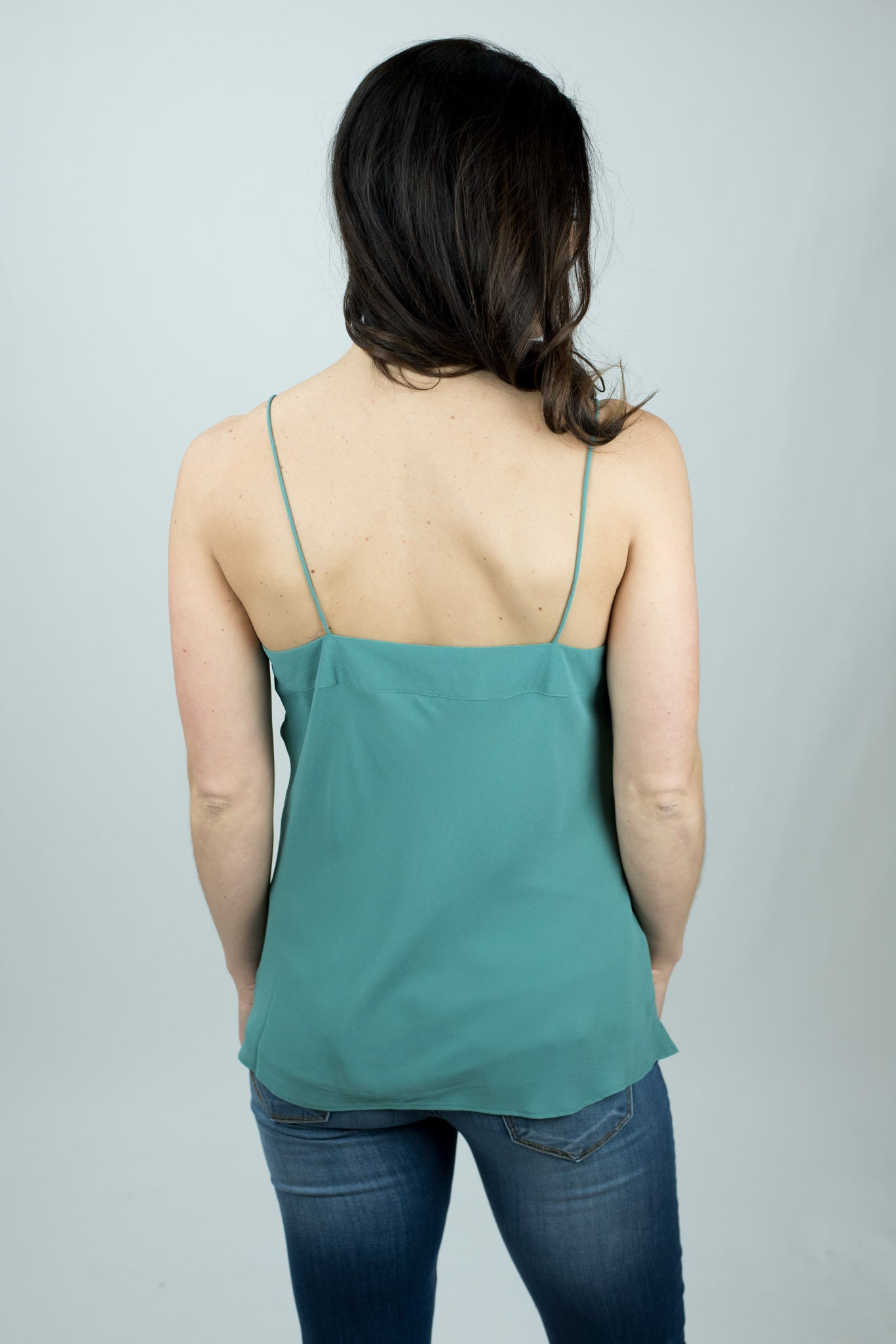 Late Night Reservations V Neck Cami - Moss Green