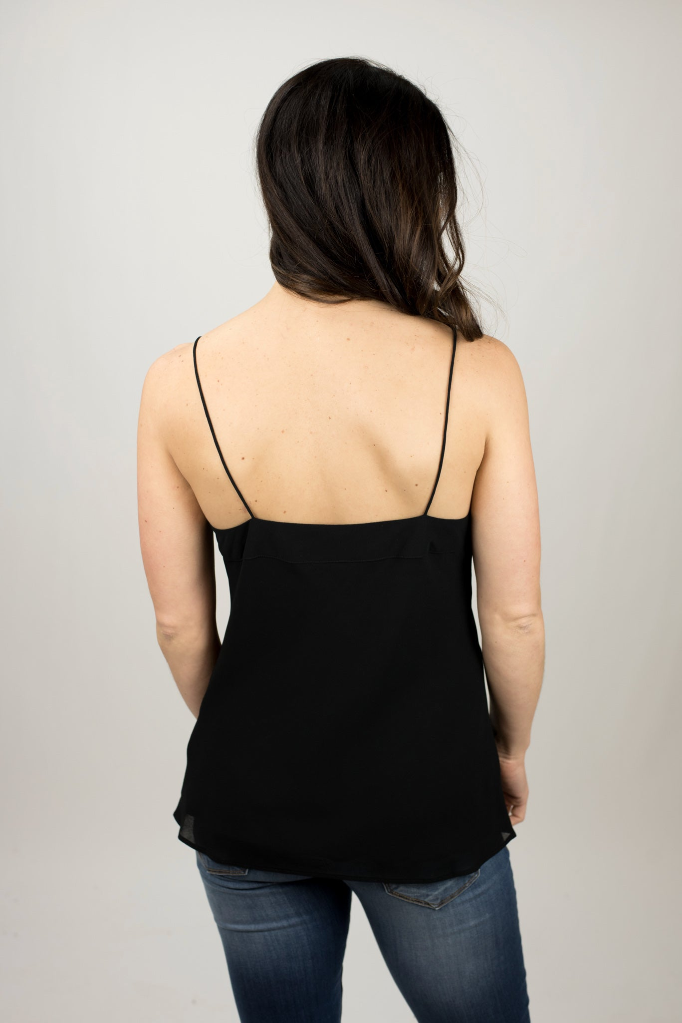 Late Night Reservations V Neck Cami - Black