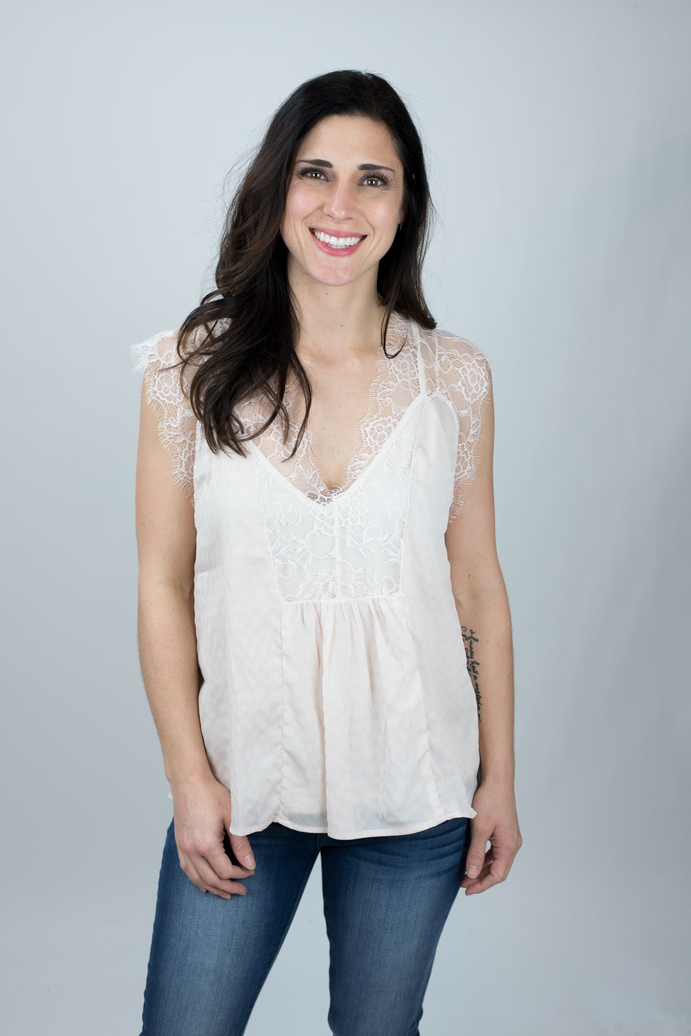 Be Romantic Natural Tank Top w Lace Overlay