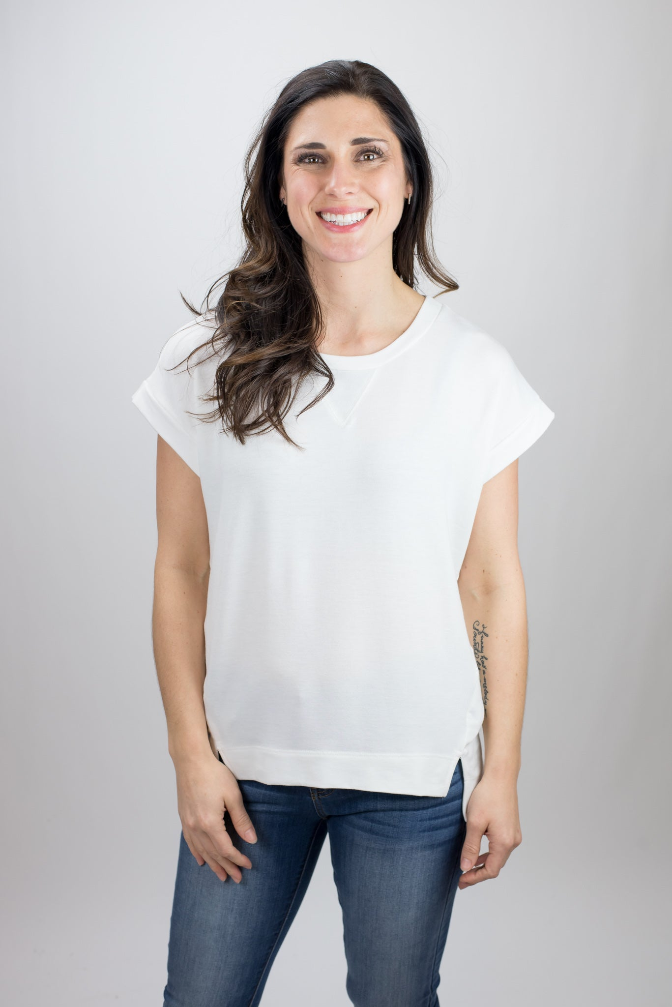 The Bigger Picture Hi Low Detail Short Sleeve Top - Ivory