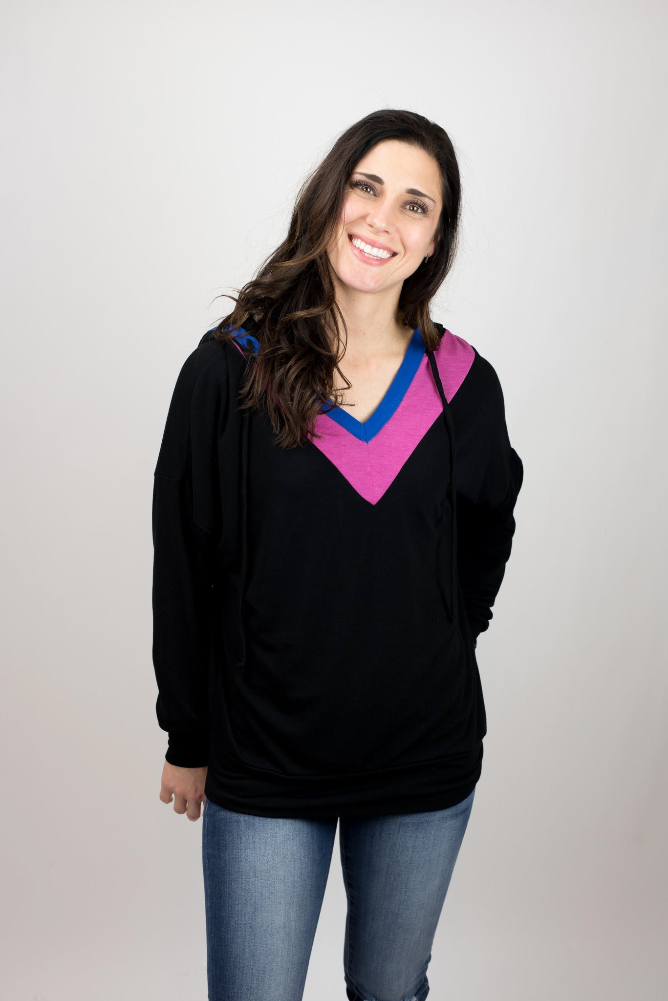 Electric Current Pink and Royal V Neck Black Hoodie