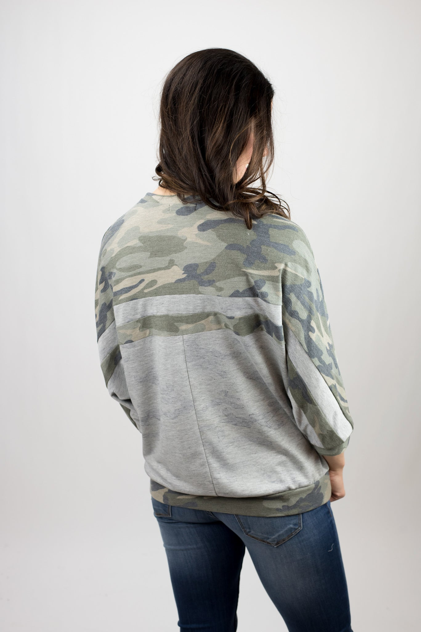 Breaking Point Camo and Grey Color Block 3/4 Sleeve