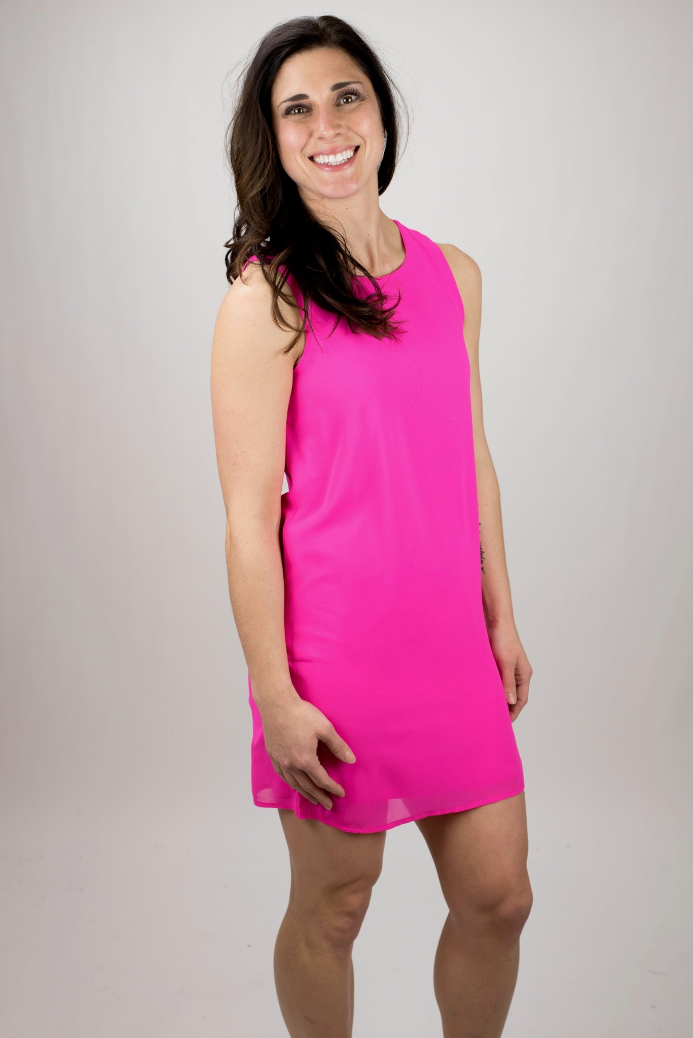 Northern Lights Fully Lined Tank Dress - Hot Pink