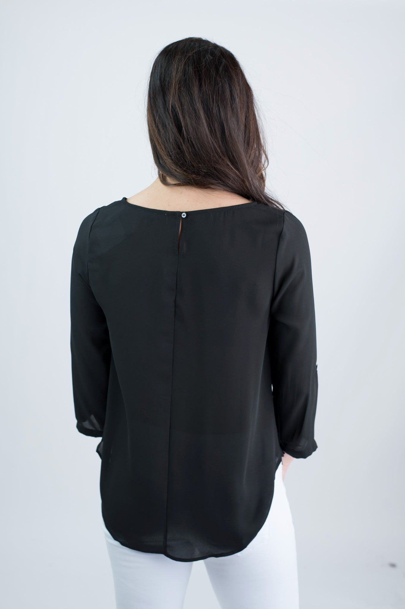 Hand In Hand Black Pleated Rolled Sleeve Blouse