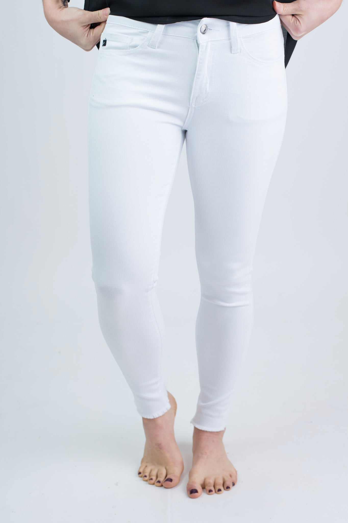 So Long For Now White Non Distressed Raw Hem White Skinny Jeans