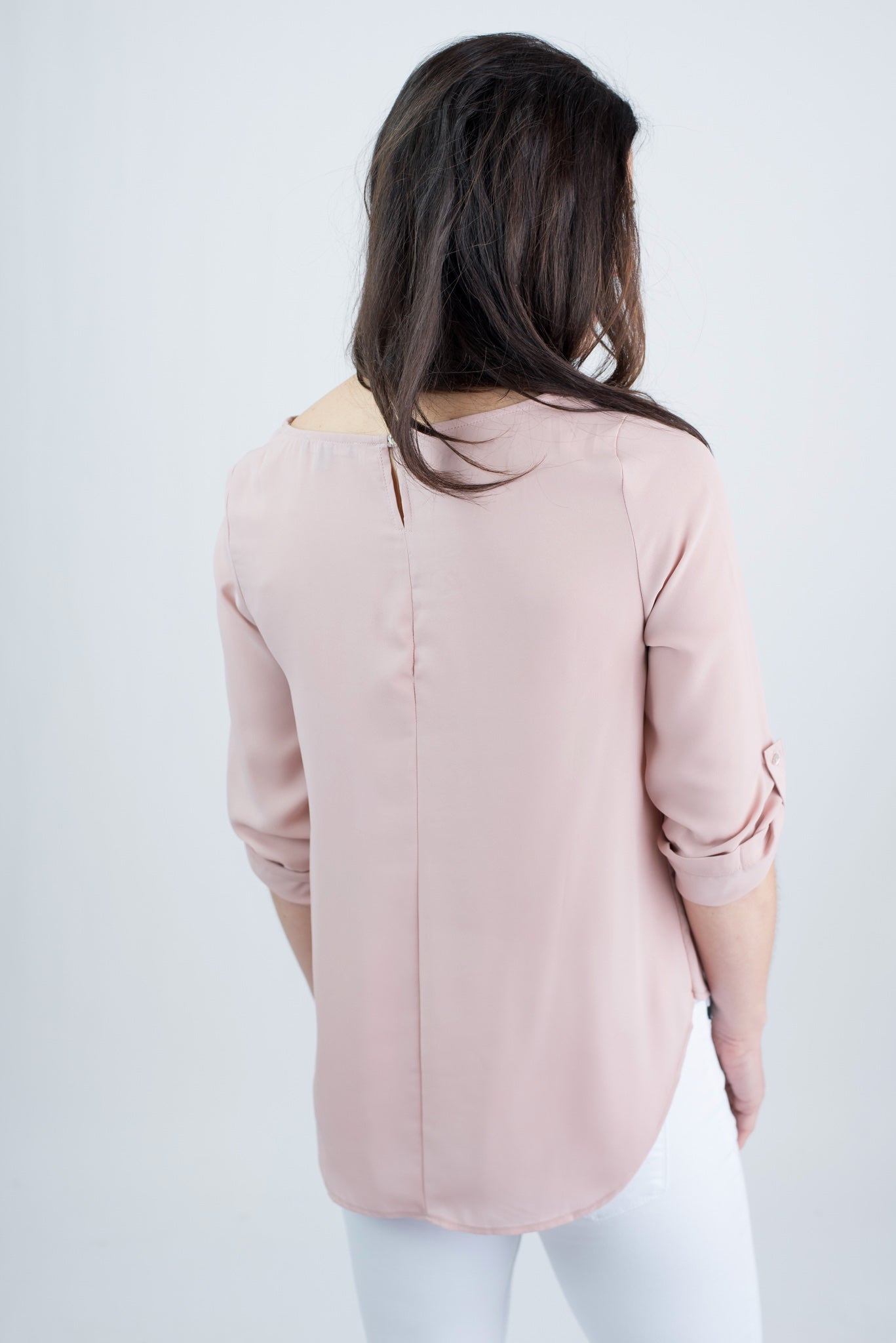 Hand In Hand Blush Pleated Rolled Sleeve Blouse