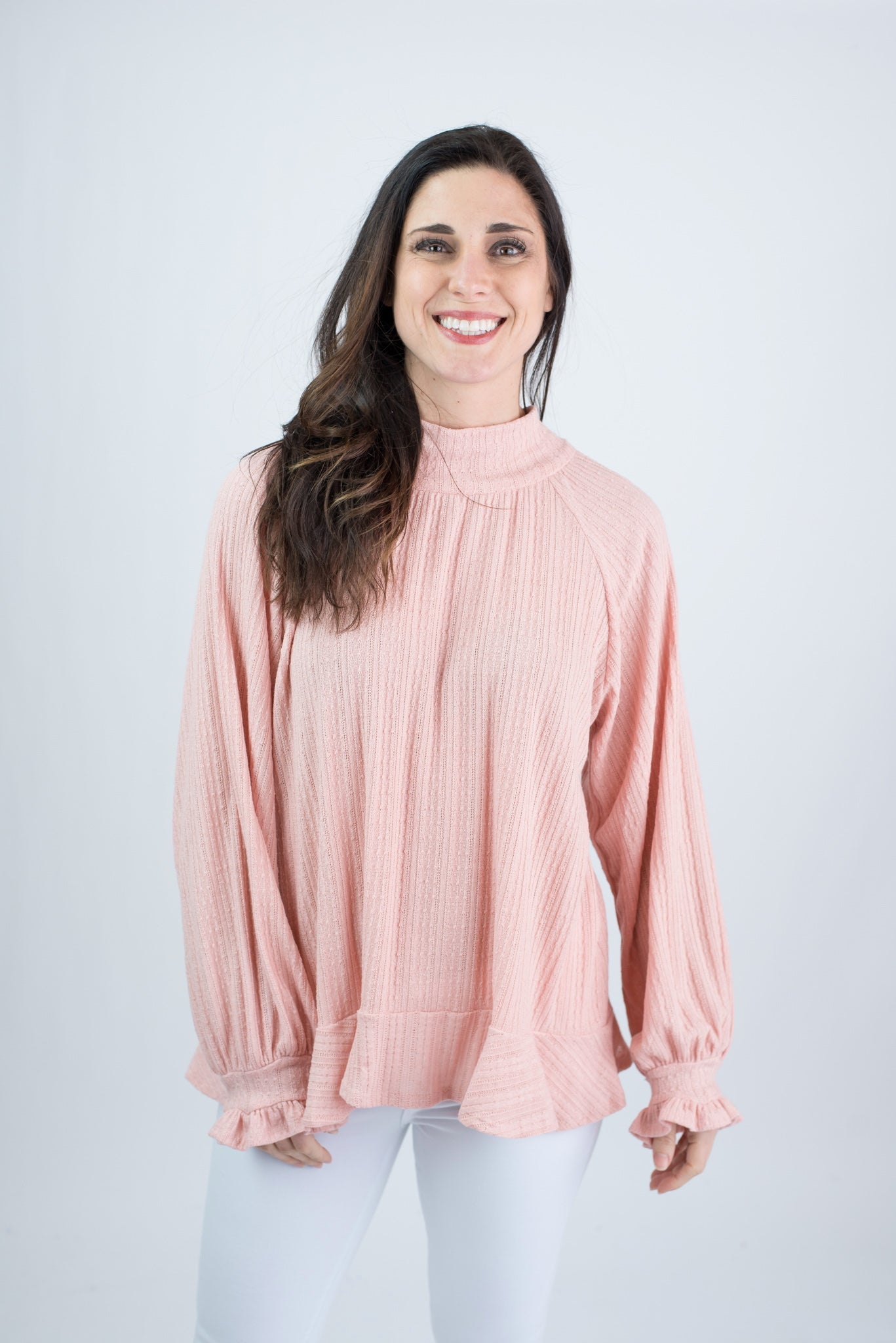 Sweetheart Kisses Tie Back Ruffle Long Sleeve Top