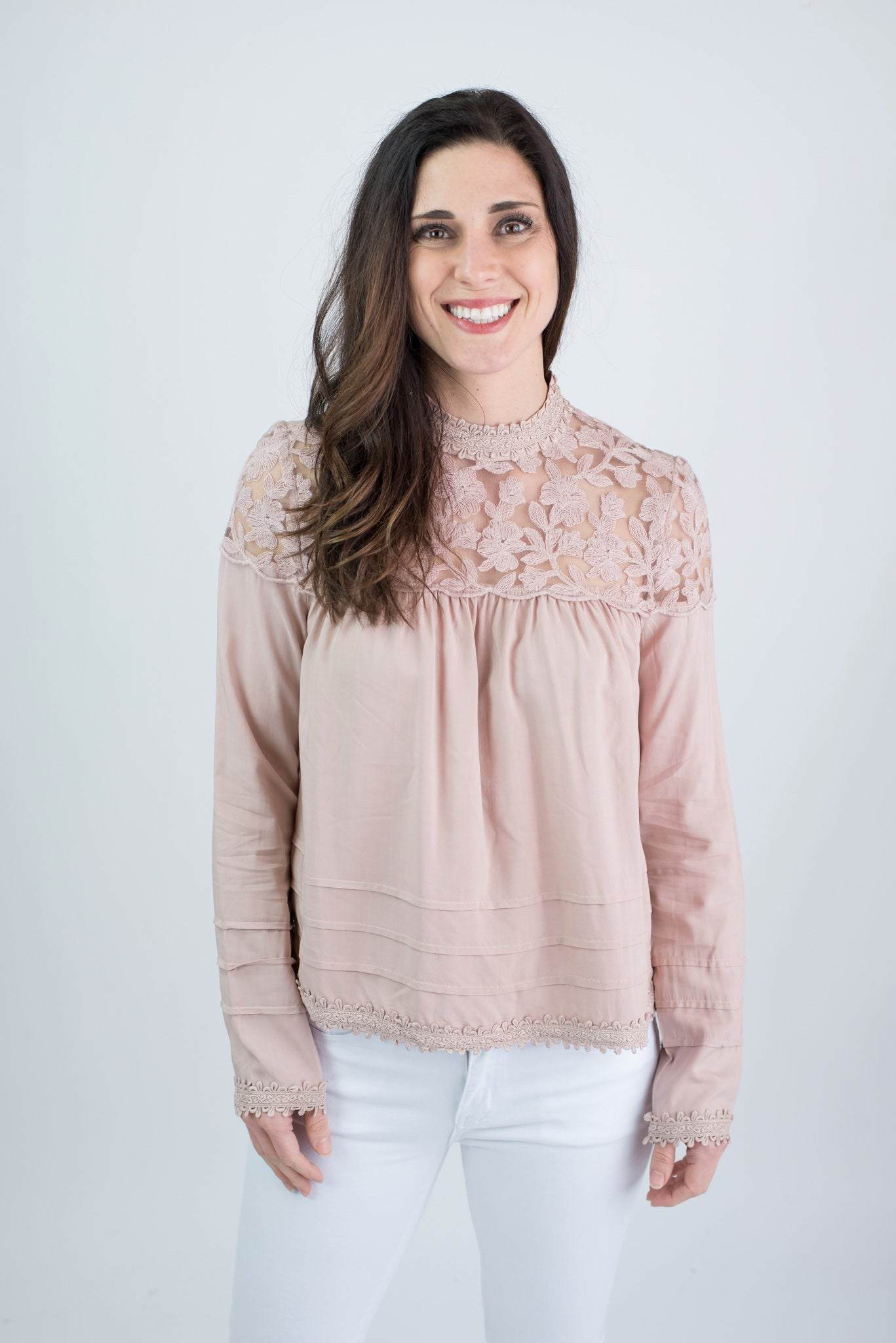 Yours Truly Blush Lace Detail Mock Neck Long Sleeve