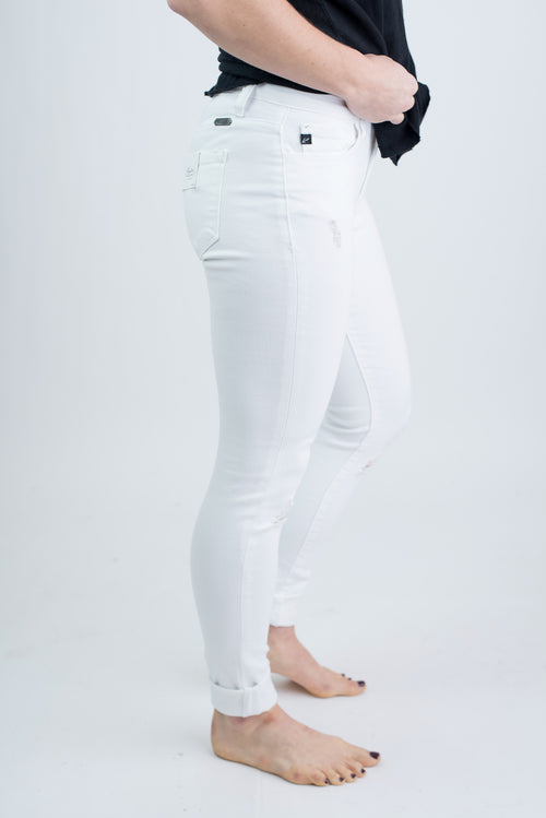 Feeling Heavenly Distressed White Skinny Jeans