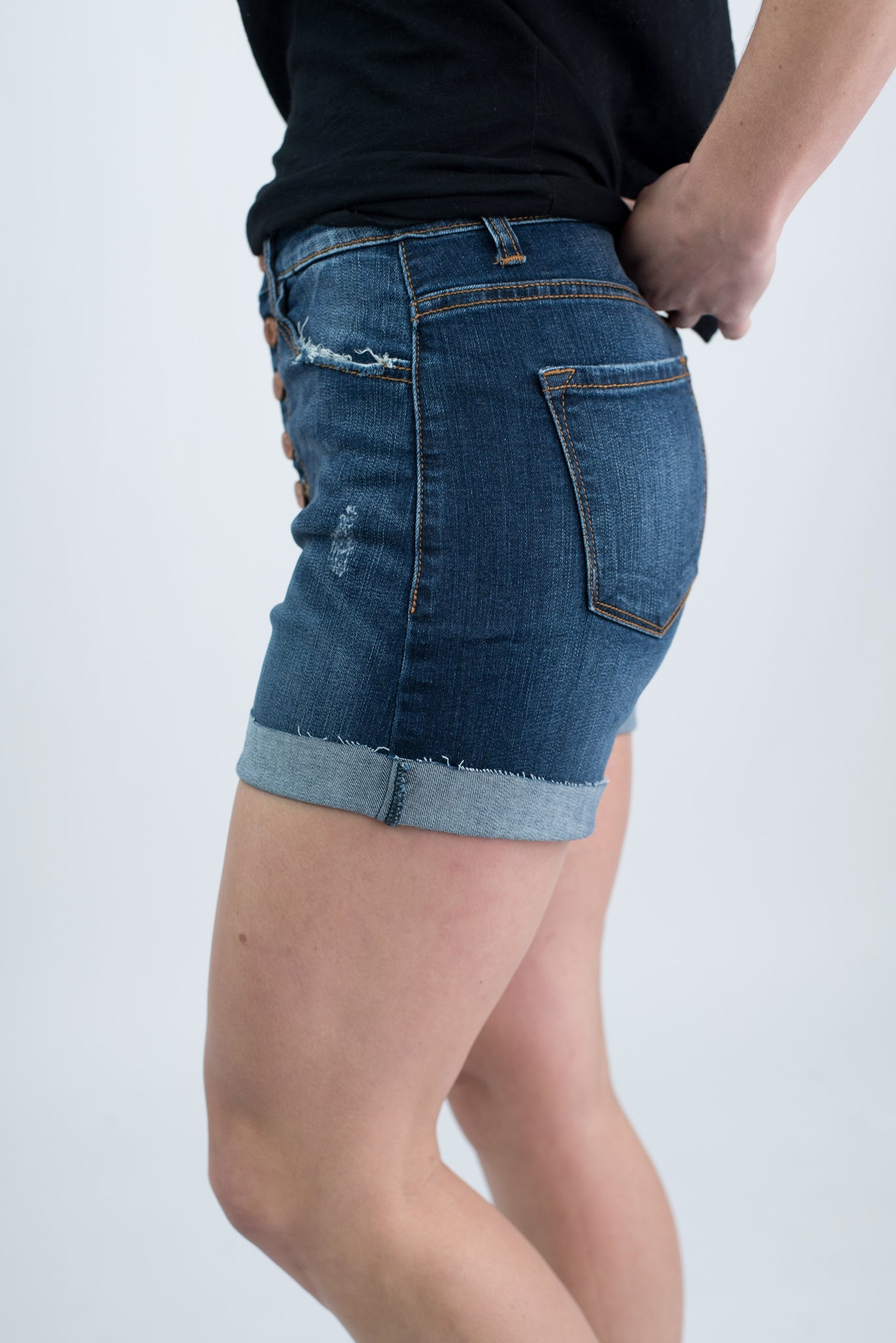 It's Your Time Button Up Dark Wash High Rise Shorts